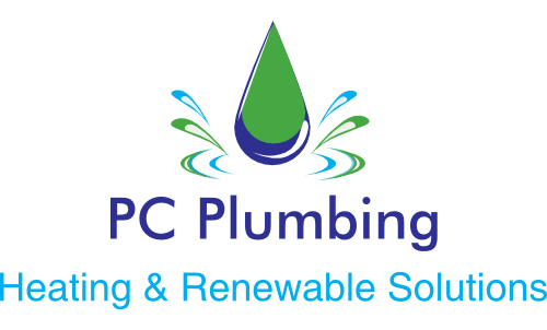 Company logo; green and blue water droplet above PC Plumbing Heating and Renewable Solutions